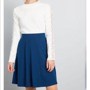 Blue knit a-line mini skirt